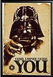 Framed Star Wars - The Empire Needs You 24x36 Movie Art Poster in Basic Black Detail Wood Frame Darth Vader