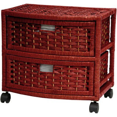 Oriental Furniture Simple Best Low Cost Discount Nightstand End Tables, 16-Inch 2 Drawer Natural Fiber Wicker Style Storage Chest with Casters-Mahogany