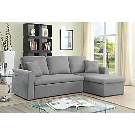 ASPEN - Sofá cama con chaise longue (3 plazas), color gris