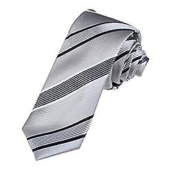 DAE7A09B Silver Grey Fitness Design Woven Microfiber Skinny Tie Stripes Italy Skinny Neck Ties By Dan Smith
