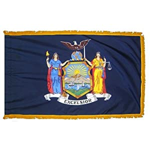 New York State Indoor Outdoor Parade Color Guard Dyed Nylon Flag Pole Hem Fringe 3' X 5'
