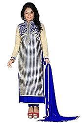 JHEENU Cream Blue Women's Cotton unstitched Straight Salwar Suit dress material