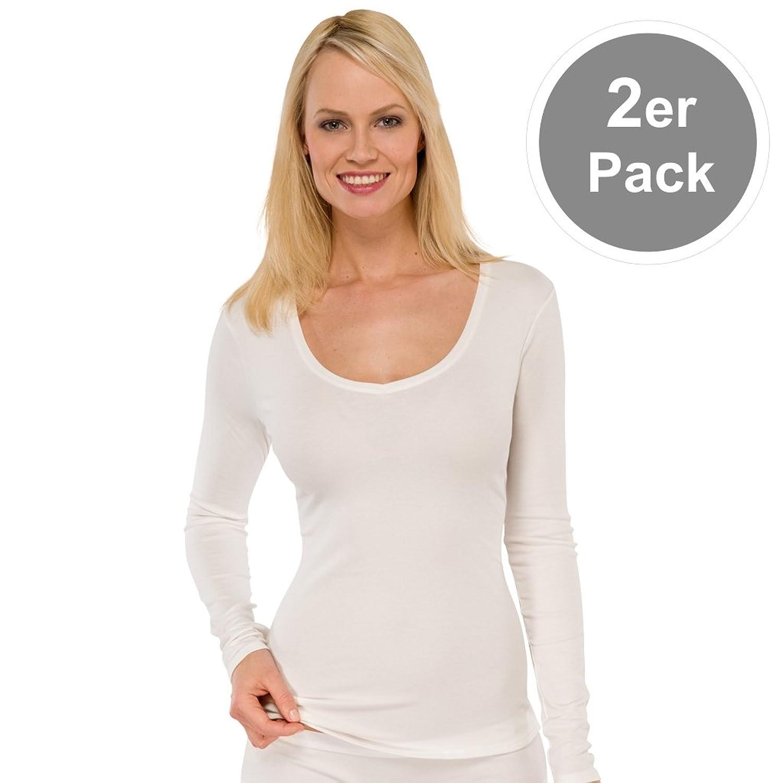 Schiesser Damen Naturschönheit Shirt / Unterhemd Langarm – 144099 – 2er Spar-Pack günstig kaufen