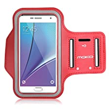 buy Galaxy S7 / S7 Edge Armband, Moko Sports Armband For Samsung Galaxy S7 / S7 Edge / Note 5 / S6 Edge+, Key Holder & Card Slot, Sweat-Proof, Red (Compatible With Cellphones Up To 5.7 Inch)