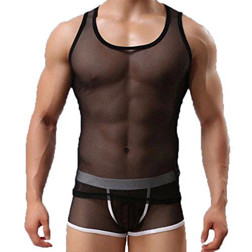 (タリンダ)Talinda 男性用 ソフトメッシュ インナーシャツ 速乾 タンクトップ メンズ ノースリーブ やわらか肌着 タイト 通気性 涼感 M ブラック