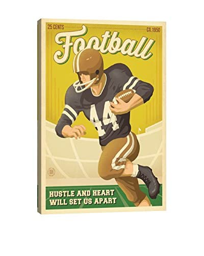 iCanvas Art Man Cave Collection Vintage Football By Anderson Design Group Canvas Print
