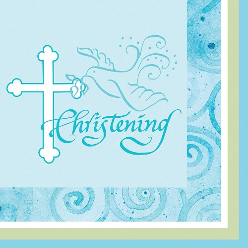 Creative Converting Faithful Dove Cross Christening Beverage Napkins, Blue, 16 Count
