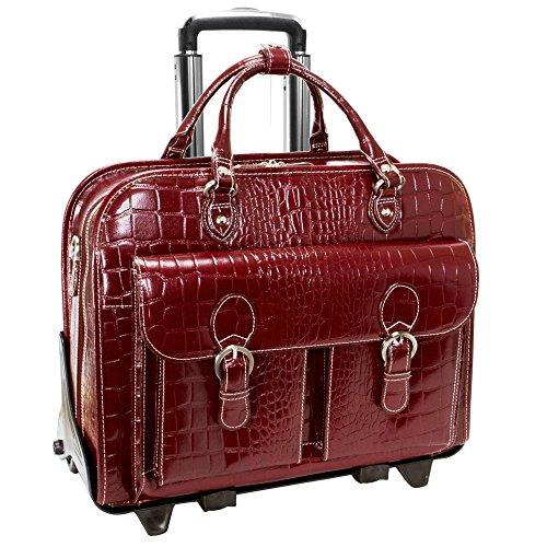 Italian Leather Ladies Wheeled Detachable Laptop Case (Cherry Red)