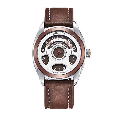 binlun da uomo marrone tono grande face character design di cristallo zaffiro resistente all' acqua polso watch-leather Band