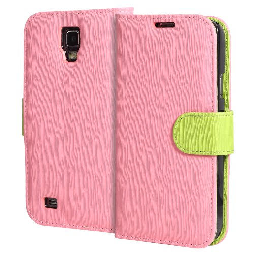 GreatShield LOLLY Series Toothpick Grain Pattern Design Wallet Flip Leather Case Cover (Stand Function) with Card/Cash Pocket Slot for Samsung Galaxy S4 Active / I9295 / SGH-I537 (Pink/Green)