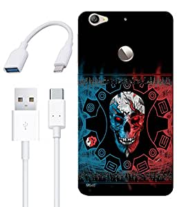 Combo of Skull HD UV Printed Mobile Back Cover, Charging Cable and OTG Cable For Letv Le 1S
