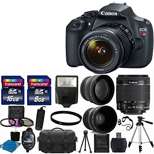"Canon EOS Rebel T5 DSLR CMOS Digital SLR Camera and DIGIC Imaging with EF-S 18-55mm f/3.5-5.6 IS Lens + 58mm 2x Professional Lens +High Definition 58mm Wide Angle Lens + Auto Flash + 59"" Strong lightweight Tripod + UV Filter Kit With 24GB Complete Del..."
