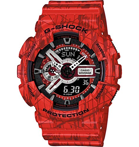 Casio - G-Shock - Slash Print Series - Red Analog Digital Resin G-Shock watch - GA110SL-4A