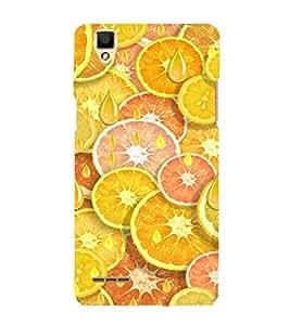 PrintVisa Orange And Lemon Pattern 3D Hard Polycarbonate Designer Back Case Cover for Oppo F1