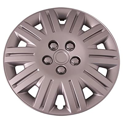Set of 4 Silver 15 Inch Aftermarket Replacement Hubcaps with Metal Clip Retention System - Part Number: IWC419/15S