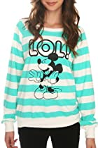 Disney Mickey Mouse LOL! Stripe Crew-Neck Girls Sweatshirt