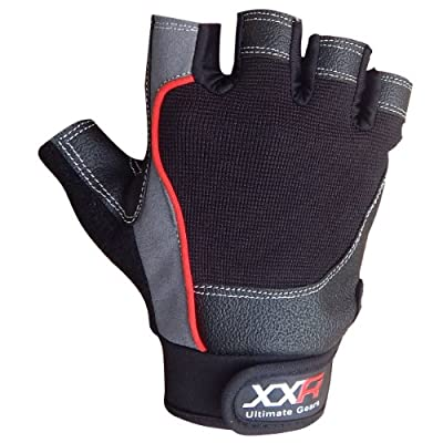 XXR Tech-Pro Weight Lifting Gloves Leather Gloves Fitness Strengthen Training Workout Gym Gloves Long Wrap Padded Palm Power Lifter Body Building Gloves XS-3XL from XXR-Sports