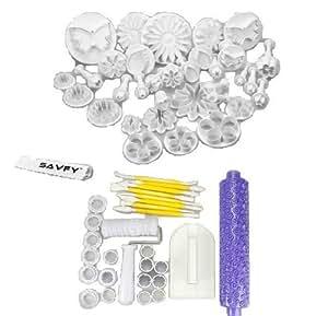 SAVFY® 60 Stück Kuchen Werkzeug komplet Set mit Ausstecher Ausstechformen Tortendeko Marzipan Fondant + Modellierwerzeug + Teigglätter