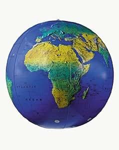 Replogle Globes Inflatable Topographical Globe, Dark Blue Ocean, 27-Inch Diameter