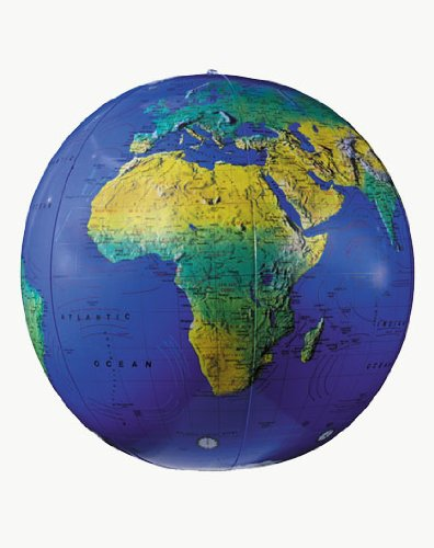 Replogle Globes Inflatable Topographical Globe, Dark Blue Ocean, 12-Inch Diameter