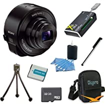 Sony DSC-QX10/B DSC-QX10 DSCQX10B QX10 QX10B (Black) Smartphone Attachable 4.45-44.5mm Lens-Style Camera BUNDLE with 32GB High Speed Micro SD Card, Spare Battery, Carrying Case, Smartphone Stylus, Table Tripod, All in One USB Card Reader and Lens Cleaner