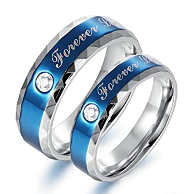 "Bishilin His & Her 2 Pcs Stainless Steel ""Forever love"" Blue Valentine Love Couples Wedding Promise Band Ring with Zirconia"
