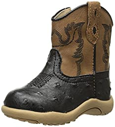 Roper Bumps Square Toe Ostrich Boot (Infant/Toddler/Little Kid/Big Kid), Black, 1 M US Infant