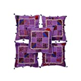 Rajrang Purple Cotton Patch Work Cushion Cover Set Of 5 Pcs #Ccs05699