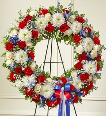 1-800-Flowers - Serene Blessings Red, White & Blue Standing Wreath - Large