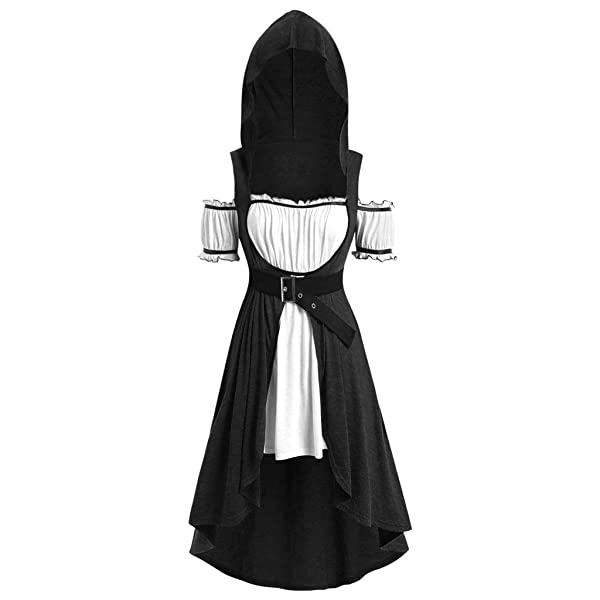 Nuewofally Steampunk Vintage Hoodie for Women Plus Size Gothic Hi-Low Outfits Dresses Tailcoat Cut Out Cosplay Costume (L, Black #1) (Color: Black #1, Tamaño: Large)