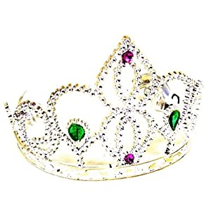 Tiara - silver jewelled plastic tiara with side grips