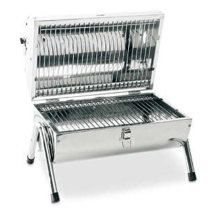 barbecue de table sur pied tonneau inox portable a emporter pour camping ou jardin. Black Bedroom Furniture Sets. Home Design Ideas