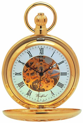 Woodford Skeleton Full-Hunter Pocket Watch, 1029, Men's Gold-Plated Pierced with Chain (Suitable for Engraving)