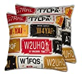 House This Bike-Number Plates Red Set Of 2 Cushion Covers- 16 X 16