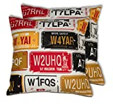 House This 100% Cotton Set Of 2 Cushion Covers Bike-Number Plates Red