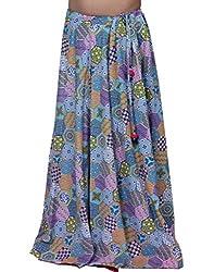 Chhipa Women Hand Printed Umbrella Style Turquise skirt