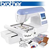 Brother PE770 (PE 770) Embroidery Machine w/ USB Flash Port and Grand Slam Package Includes 64 Embroidery Threads with Snap Spools + Prewound Bobbins + Cap Hoop + Sock Hoop + Stabilizer + 15,000 Embroidery Designs + Scissors ($1,170 Value)