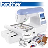 Brother PE770 (PE 770) Embroidery Machine w/ USB Flash Port and Grand Slam Package Includes 63 Embroidery Threads with Snap Spools + Prewound Bobbins + Cap Hoop + Sock Hoop + Stabilizer + 15,000 Embroidery Designs + Scissors ($1,170 Value)