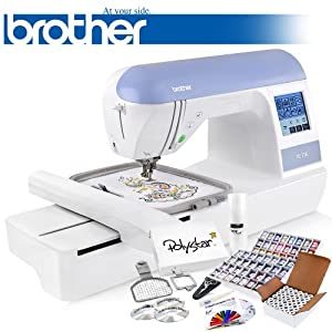 Brother PE770 (PE 770) Embroidery Machine w/ USB Flash Port and Grand Slam Package Includes 63 Embroidery Threads with Snap Spools + 144 Prewound Bobbins + Cap Hoop + Sock Hoop + Stabilizer + 15,000 Embroidery Designs + Scissors ($1,170 Value)