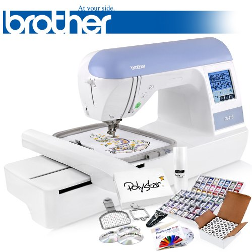 Brother PE770 Embroidery Machine + Grand Slam Package Includes 64 Embroidery Threads + Prewound Bobbins + Cap Hoop + Sock Hoop + Stabilizer + 15,000 Embroidery Designs + Scissors