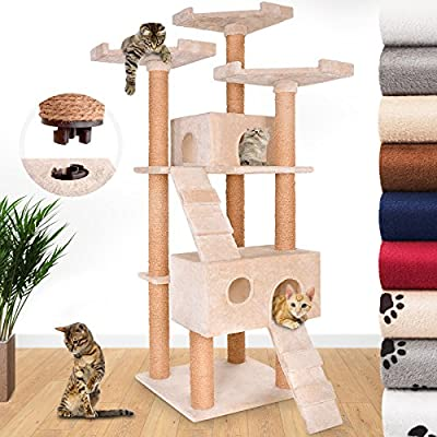 JakoCat Quick Connect Cat Tree Scratching Post 171 cm High with Spacious Caves and Large Sightseeing Platforms Activity Centre Scratcher Play Tower Climbing Furniture - Choice of Colour