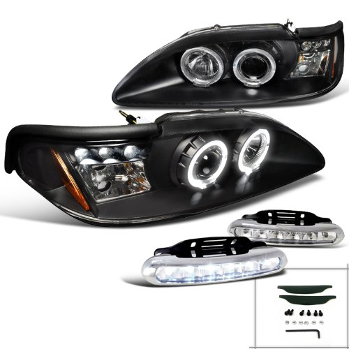 Mustang Halo Projector Headlight Signal Black+LED DRL Fog Lamps (Mustang Cobra Headlights compare prices)