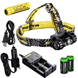 Nitecore HC50 565 Lumens CREE XM-L2 LED headlamp Genuine Nitecore NL189 18650 3400mAh Li-ion rechargeable battery, Nitecore i2 intelligent Charger, Car Charging Cable and Two EdisonBright CR123A Lithium Batteries