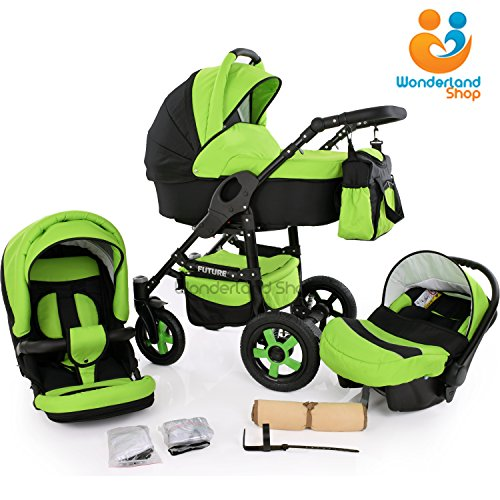 Baby-Pram-Stroller-Buggy-Car-Seat-Carrycot-Travel-system-FREEBIES-10-Colours-SWIVEL-WHEELS