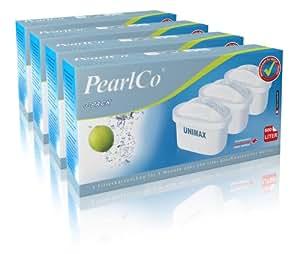 PearlCo Unimax Wasserfilter Kartuschen Pack 12 (kompatibel mit Brita® Maxtra®)