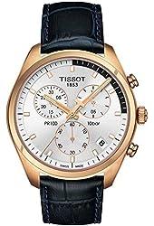 Tissot T1014173603100 Pr100 Mens Watch - Silver Dial, Leather Strap