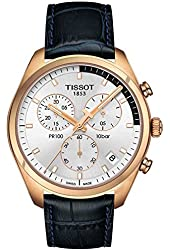 Tissot PR 100 Chronograph Gent Silver / Rose Gold / Navy Blue Leather Analog Quartz Men's Watch T101.417.36.031.00