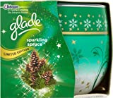 PACK OF 2 GLADE FRAGRANCED CANDLES IN DECORATED GLASS. SPARKLING SPRUCE FRAGRANCE. LIMITED EDITION CHRISTMAS/HOLIDAY/WINTER SEASON.