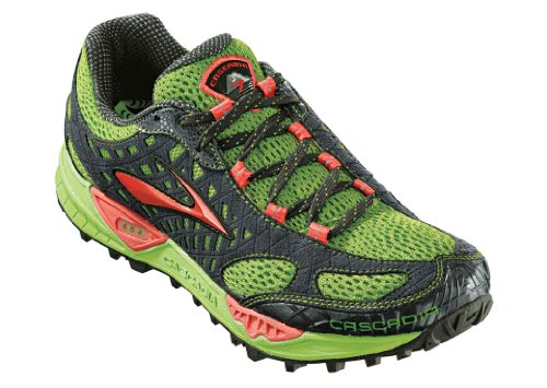 Brooks Women's Cascadia 7 Trail Running Shoe,Greenery/Cayenne/Anthracite/Black,8 B US
