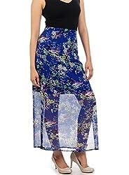 Myrah Women's Pleated Skirt (Amz005_Blue_L)
